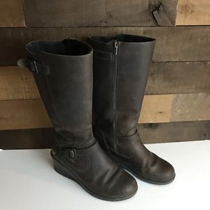 Keen women's brown wedge heel knee boots size 8